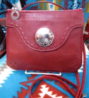 Scully Leather Shoulder Bag: Compact Wallet on a Strap Red