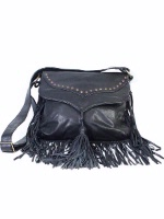 Scully Leather Shoulder Bag: Western Fringe Galore Black
