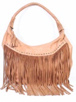 A Scully Leather Shoulder Bag: Western Fringe and Rivets