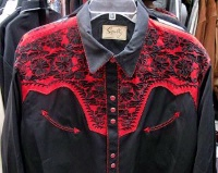 Scully Men's Vintage Western Shirt: The Gunfighter Black & Tomato S-2X Big/Tall 3X-4X