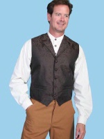 Scully Men's Old West Vest: Rangewear Paisley Brown S-2X, Big/Tall 3X-3XT, Big 5X-6X