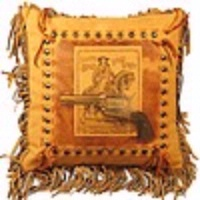 ZSold Patricia Wolf Pillow: Six Shooter SOLD