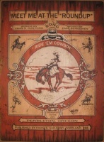 ZSold Cowboy Brand Furniture: Wall Sign-Rodeo-Pendleton Round-Up Song Cover