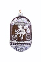 ZSold Artistry of Poland Ornament: Day of the Dead- Special Delivery Cyclist B&W SOLD