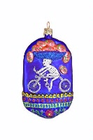 ZSold Artistry of Poland Ornament: Day of the Dead- Special Delivery Cyclist Color SOLD