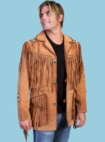 Scully Men's Leather Jacket: Fringe Suede Button Front Jacket Bourbon Big and Long Sizes