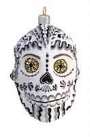 ZSold Artistry of Poland Ornament: Day of the Dead - Calavera, Sugar Skull Black and White SOLD
