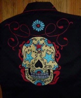 Rockmount Ranch Wear Men's Vintage Western Shirt: Fancy Skull Sugar Embroidery 2XL