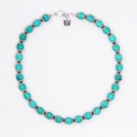A Laura Ingalls Designs: Necklace Turquoise w Aztec Silver Beads Special Order
