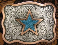 A Silver King Buckle: The Turquoise Star Trophy Buckle