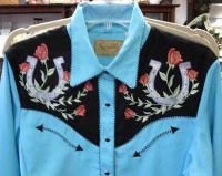 A Scully Ladies' Vintage Western Shirt: Lucky Horseshoes and Roses XS-2XL