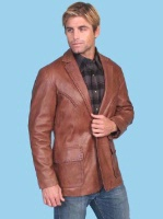 Scully Men's Leather Blazer: Whip Stitch Antique Brown Big 50L SALE