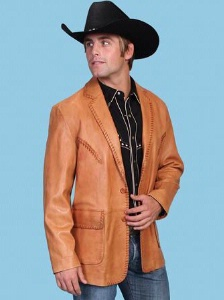 Scully Men S Leather Blazer Whip Stitch Ranch Tan Big And