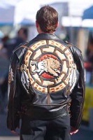 A A Ira Hoss for Volcano: Bison Shield Motorcycle Jacket Lamb Hair on Hide Special Order