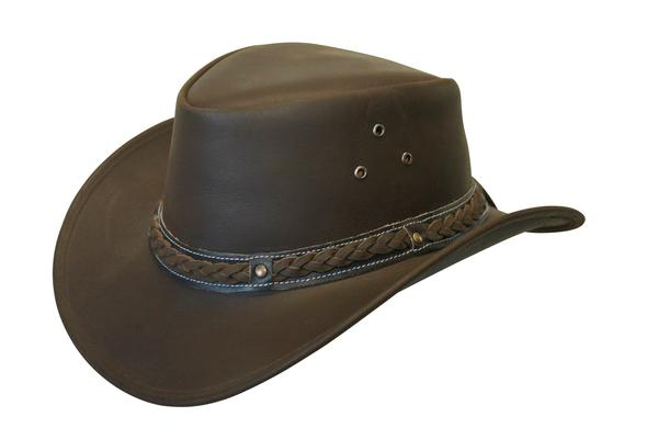 Conner Handmade Hats Cowboy Western Style Leather  Buffalo Outback Down  Under Brown 95640c2787c3
