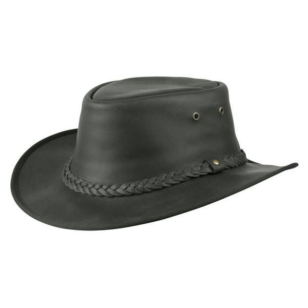 Conner Handmade Hats Cowboy Western Style Leather: Flat Brim Lone Wolf Black