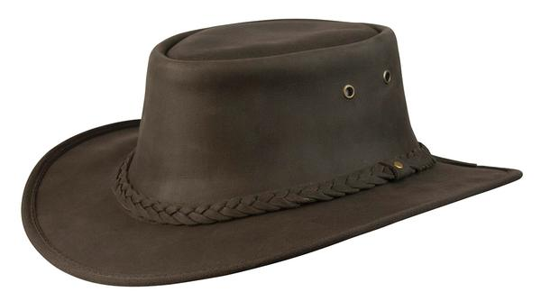 Conner Handmade Hats Cowboy Western Style Leather: Flat Brim Lone Wolf Brown