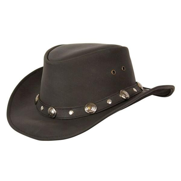 Conner Handmade Hats Cowboy Western Style Leather: Buffalo Nickel Black