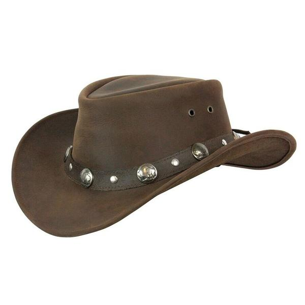 Conner Handmade Hats Cowboy Western Style Leather: Buffalo Nickel Brown
