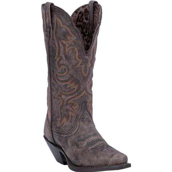 Ladies' Dan Post Boots Western Laredo: Access Black & Tan Snip Toe M, W 6-10. 11, 12 Regular and Wide Calves