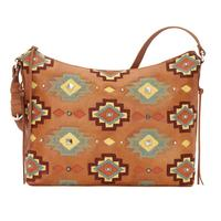 American West Handbag Adobe Allure Collection: Leather Zip Top Shoulder Bag