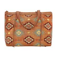 American West Handbag Adobe Allure Collection: Leather Zip Top Shoulder Tote