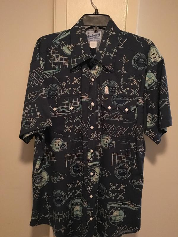 Rockmount Ranch Wear Men's Western Shirt: Print Airplane Short Sleeve L-XL