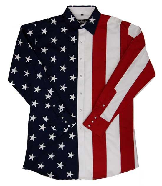 White Horse Men's Shirt Long Sleeve: Embroidered Flag S-2XL
