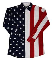 White Horse Men's Vintage Western Shirt: Embroidered Flag Design