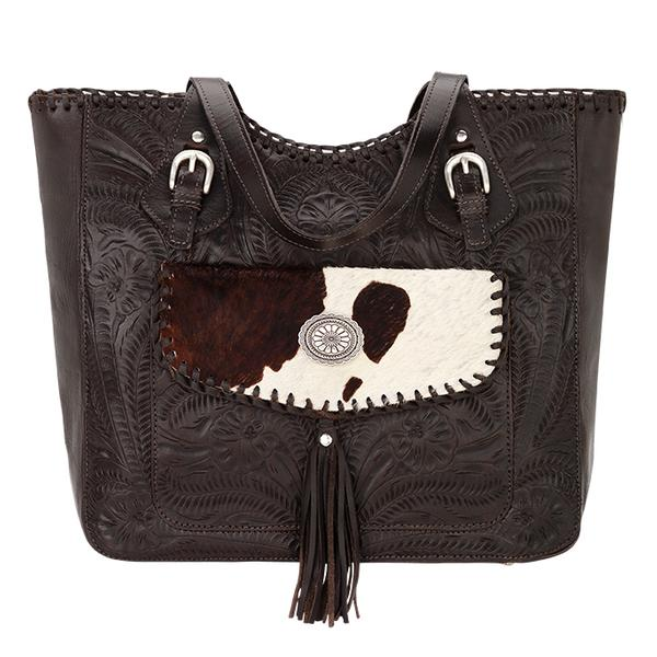 American West Handbag Annie S Secret Collection Concealed Carry Leather Tote Pocket Chocolate