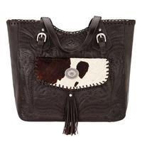 American West Handbag Annie's Secret Collection: Concealed Carry Leather Tote, Pocket, Chocolate