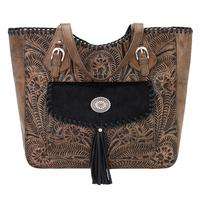 American West Handbag Annie's Secret Collection: Concealed Carry Leather Tote, Pocket, Distressed Chocolate Brown