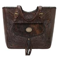 American West Handbag Annie's Secret Collection: Concealed Carry Leather Tote, Pocket, Chestnut Brown