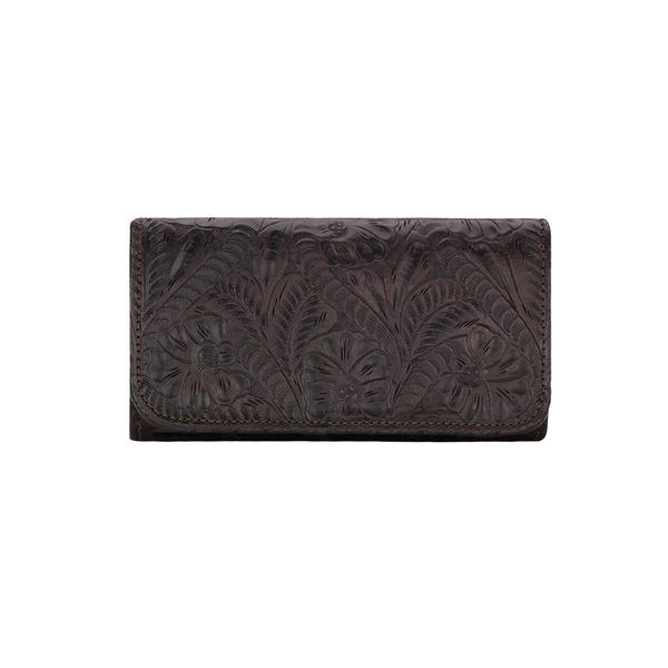 American West Handbag Santa Barbara Collection: Leather Tri-Fold Wallet Chocolate