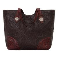 American West Handbag Annie's Secret Collection: Concealed Carry Leather Tote Chocolate