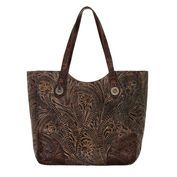 American West Handbag Annie S Secret Collection Concealed Carry Leather Tote Chocolate Brown