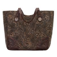 American West Handbag Annie's Secret Collection: Concealed Carry Leather Tote Chocolate Brown