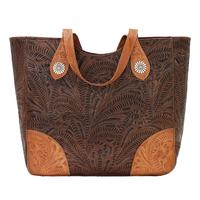 American West Handbag Annie's Secret Collection: Concealed Carry Leather Tote Chestnut Brown