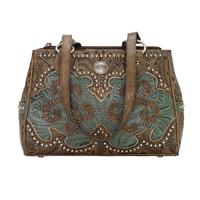 American West Handbag Annie's Secret Collection: Leather Multicompartment Turquoise