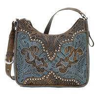 American West Handbag Annie's Secret Collection: Concealed Carry Leather Shoulder Denim Blue