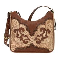 American West Handbag Annie's Secret Collection: Concealed Carry Leather Shoulder Distressed Cream