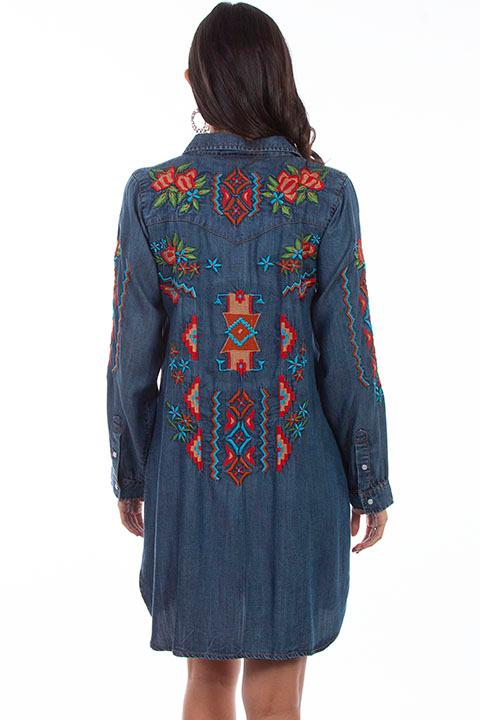 Scully Ladies' Honey Creek Collection Dress: A Denim Aztec Design