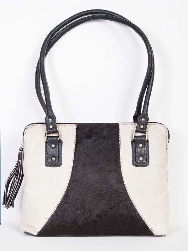 Scully Leather Handbag: Western Double Handle Hair on Cowhide