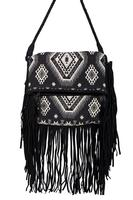 Scully Leather Shoulder Bag: Western Fringe Suede and Leather Black