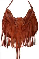 Scully Leather Shoulder Bag: Western Fringe and Studs