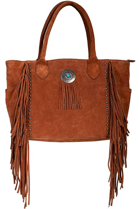Scully Leather Shoulder Bag: Western Fringe and Studs Tote