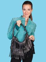 ZSold Scully Leather Shoulder Bag: Fringe Hobo Shoulder Bag Black SOLD