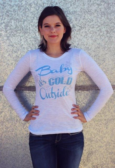 Original Cowgirl Clothing: A Tee Longsleeve Baby It's Cold Outside