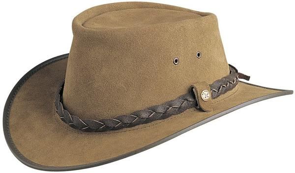 Conner Handmade Hats BC Hats: Leather Bac Pac Traveler Suede Bark