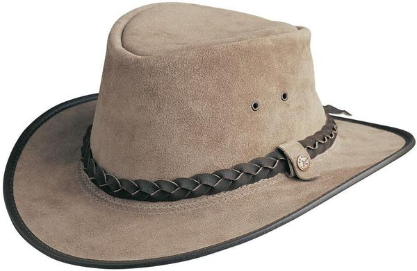 Conner Handmade Hats BC Hats: Leather Bac Pac Traveler Suede Moose